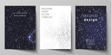 Vector layout of A4 format cover mockups design templates for brochure, magazine, flyer, booklet, report. Binary code background. AI, big data, coding or hacker concept, digital technology background
