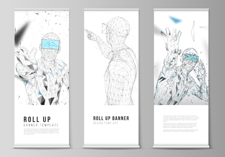 The vector illustration of the editable layout of roll up banner stands, vertical flyers, flags design business templates. Man with glasses of virtual reality. Abstract vr, future technology concept. 免版税图像