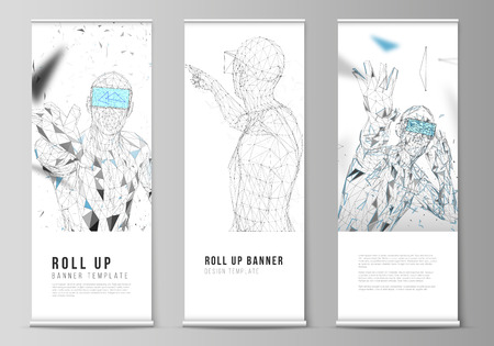 The vector illustration of the editable layout of roll up banner stands, vertical flyers, flags design business templates. Man with glasses of virtual reality. Abstract vr, future technology concept Illustration