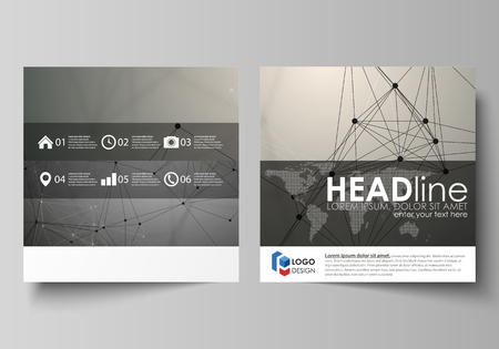 Business templates for square design brochure, magazine, flyer, booklet or annual report. Leaflet cover, abstract flat layout, easy editable vector. Chemistry pattern, molecule structure on gray background. Science and technology concept.