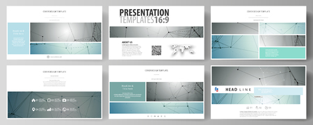 Business templates in HD format for presentation slides. Easy editable abstract vector layouts in flat design. Geometric background, connected line and dots. Molecular structure. Scientific, medical, technology concept.