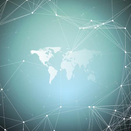 Mapa del mundo blanco con patrón de química, líneas y puntos de conexión. Estructura de la molécula. Investigación científica del ADN médico. Concepto de ciencia o tecnología. Fondo abstracto de diseño geométrico