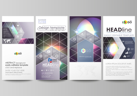 Flyers set, modern banners. Business templates. Cover design template, easy editable abstract vector layouts. Retro style, mystical Sci-Fi background. Futuristic trendy design.