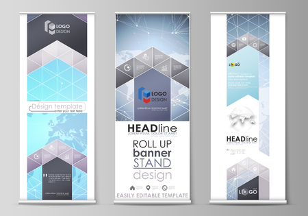 The minimalistic vector illustration of the editable layout of roll up banner stands, vertical flyers, flags design business templates. Polygonal texture. Global connections, futuristic geometric concept. Çizim