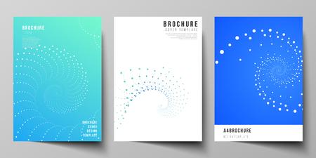 El diseño vectorial de plantillas de diseño de maquetas de portadas modernas en formato A4 para folletos, revistas, folletos, folletos, informes anuales. Fondo de tecnología geométrica. Sendero de vórtice monocromo abstracto