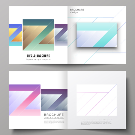 The vector illustration of the editable layout of two covers templates for square design bifold brochure, magazine, flyer, booklet. Creative modern cover concept, colorful background