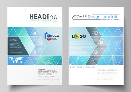 Business templates for brochure, magazine, flyer, booklet or annual report. Cover design template, easy editable vector, abstract flat layout in A4 size. Chemistry pattern, connecting lines and dots, molecule structure, medical DNA research. Medicine concept.