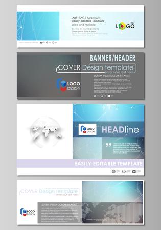 L'illustrazione vettoriale minimalista del layout modificabile dei social media, intestazioni e-mail, modelli di design di banner in formati popolari. Struttura della molecola. Scienza, concetto di tecnologia. Design poligonale.