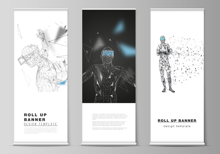 The vector illustration of the editable layout of roll up banner stands, vertical flyers, flags design business templates. Man with glasses of virtual reality. Abstract vr, future technology concept Çizim