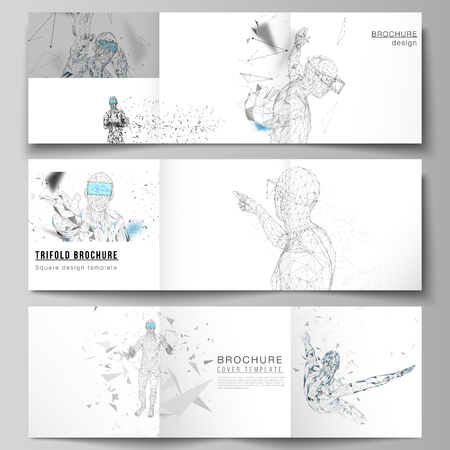 The minimal vector editable layout of two square format covers design templates for trifold square brochure, flyer, magazine. Man with glasses of virtual reality. Abstract vr, future technology concept.