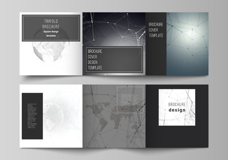 Vector layout of square format covers design templates for trifold brochure, flyer. Futuristic design with world globe, connecting lines and dots. Global network connections, technology concept