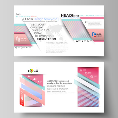 Business templates in HD format for presentation slides. Easy editable abstract vector layouts in flat design. Sweet pink and blue decoration, pretty romantic design, cute candy background.