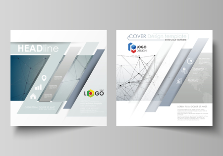 Business templates for square design brochure, magazine, flyer, booklet or annual report. Leaflet cover, abstract flat layout, easy editable vector. DNA and neurons molecule structure. Medicine, science, technology concept. Scalable graphic.