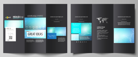 Tri-fold brochure business templates on both sides. Abstract vector layout in flat design. Chemistry pattern, connecting lines and dots, molecule structure, medical DNA research. Medicine concept.