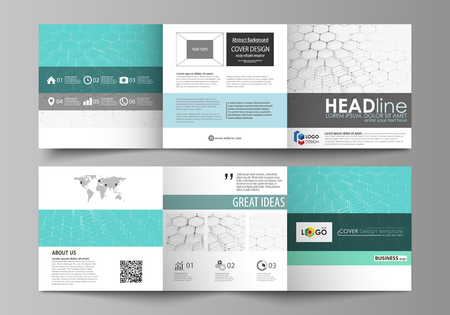 Set of business templates for tri fold square design brochures. Leaflet cover, abstract flat layout, easy editable vector. Chemistry pattern, hexagonal molecule structure on blue. Medicine, science and technology concept.