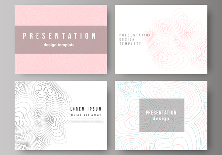 The minimalistic abstract vector illustration of the editable layout of the presentation slides design business templates. Topographic contour map, abstract monochrome background. Illustration