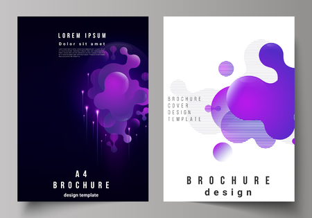 The vector layout of A4 format modern cover mockups design templates for brochure, magazine, flyer, booklet, annual report. Black background with fluid gradient, liquid blue colored geometric element