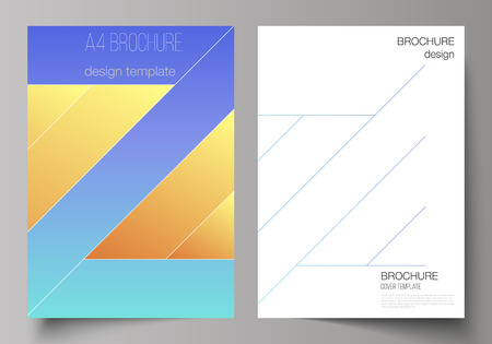 The vector illustration of the editable layout of A4 format modern cover mockups design templates for brochure, magazine, flyer, booklet, annual report. Creative modern cover concept, colorful background.