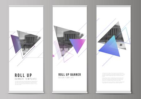 La ilustración vectorial del diseño editable de roll up banner stands, volantes verticales, banderas diseñan plantillas comerciales. Fondo poligonal colorido con triángulos con patrón moderno de memphis.