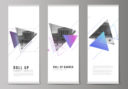 The vector illustration of the editable layout of roll up banner stands, vertical flyers, flags design business templates. Colorful polygonal background with triangles with modern memphis pattern.