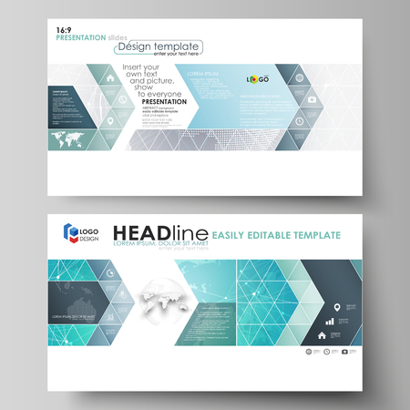 The minimalistic abstract vector illustration of the editable layout of high definition presentation slides design business templates. Chemistry pattern. Molecule structure. Medical, science background. Ilustração Vetorial