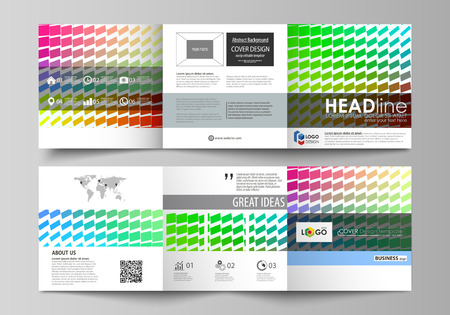 Set of business templates for tri fold square design brochures. Leaflet cover, abstract flat layout, easy editable vector. Colorful rectangles, moving dynamic shapes forming abstract polygonal style background.