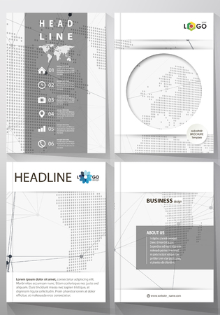 The vector illustration of the editable layout of four A4 format covers with the circle design templates for brochure, magazine, flyer. Global network connections, technology background with world map