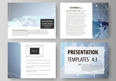 The minimalistic abstract vector illustration of the editable layout of the presentation slides design business templates. Technology concept. Molecule structure, connecting background