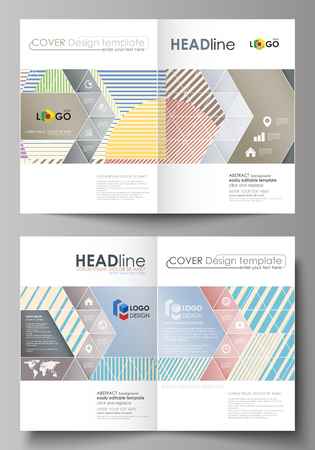 Business templates for bi fold brochure, magazine, flyer, booklet or annual report. Cover design template, easy editable vector, abstract flat layout in A4 size. Minimalistic design with lines, geometric shapes forming beautiful background. Illustration