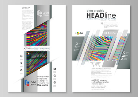 Blog graphic business templates. Page website design template, easy editable abstract vector layout. Bright color lines, colorful style with geometric shapes forming beautiful minimalist background Vetores