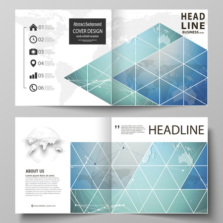 The vector illustration of the editable layout of two covers templates for square design bi fold brochure, magazine, flyer, booklet. Chemistry pattern, connecting lines and dots. Medical concept.