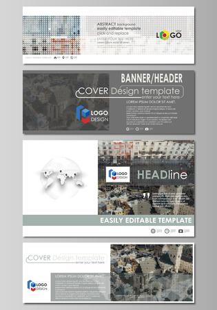 Social media and email headers set, modern banners. Business templates. Easy editable abstract design template, vector layouts in popular sizes. Colorful background made of dotted texture for travel business, urban cityscape.