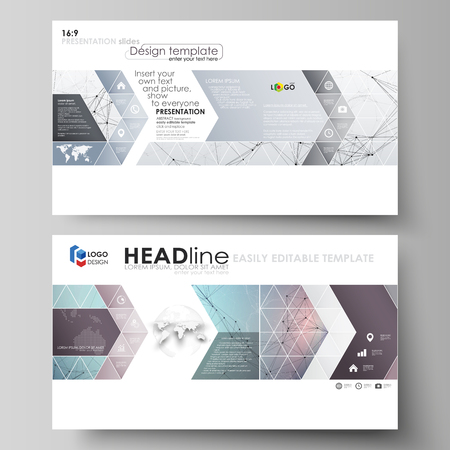 Business templates in HD format for presentation slides. Easy editable abstract vector layouts in flat design. Compounds lines and dots. Big data visualization in minimal style. Graphic communication background.