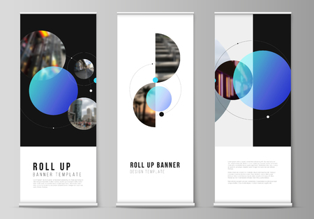 The vector layout of roll up banner stands, vertical flyers, flags design business templates. Simple design futuristic concept. Creative background with circles that form planets and stars Vetores
