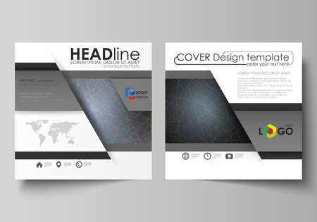 Business templates for square design brochure, magazine, flyer, booklet or annual report. Leaflet cover, abstract flat layout, easy editable vector. Colorful dark background with abstract lines. Bright color chaotic, random, messy curves. Colourful vector decoration.