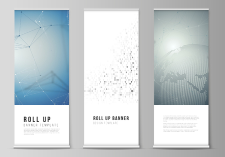 The vector illustration of the editable layout of roll up banner stands, vertical flyers, flags design business templates. Technology, science, future concept abstract futuristic backgrounds.