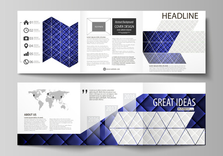 Set of business templates for tri fold square design brochures. Leaflet cover, abstract vector layout. Shiny fabric, rippled texture, white and blue color silk, colorful vintage style background.