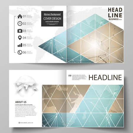 The vector illustration of the editable layout of two covers templates for square design bi fold brochure, magazine, flyer, booklet. Chemistry pattern with molecule structure. Medical DNA research.