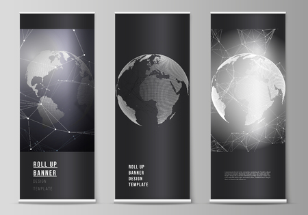 Vector layout of roll up banner stands, vertical flyers, flags design business templates. Futuristic design with world globe, connecting lines and dots. Global network connections, technology concept.