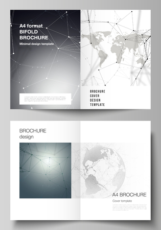 Vector layout of two A4 format cover mockups design templates for bifold brochure, flyer, report. Futuristic design with world globe, connecting lines. Global network connections, technology concept