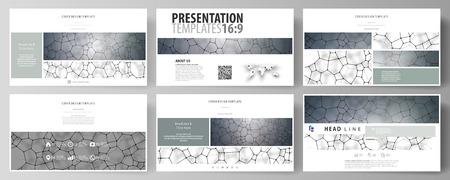 Business templates in HD format for presentation slides. Vector design layouts. Chemistry pattern, molecular texture, polygonal molecule structure, cell. Medicine, science, microbiology concept. Vektoros illusztráció