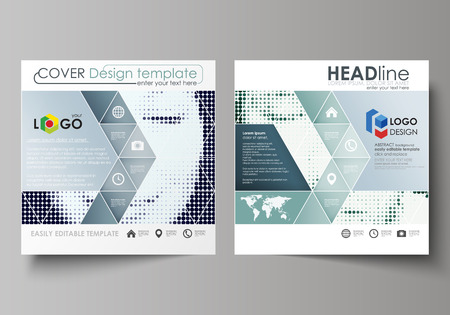 Business templates for square design brochure, magazine, flyer, booklet or annual report. Leaflet cover, abstract flat layout, easy editable vector. Halftone dotted background, retro style grungy pattern, vintage texture. Halftone effect with black dots on white. Illustration