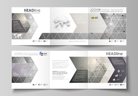 Set of business templates for tri fold square design brochures. Leaflet cover, abstract flat layout, easy editable vector. Chemistry pattern, molecule structure on gray background. Science and technology concept.