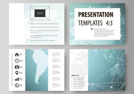 The minimalistic abstract vector illustration of the editable layout of the presentation slides design business templates. Chemistry pattern, molecule structure, geometric design background Illustration
