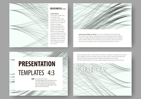 Set of business templates for presentation slides. Easy editable layouts, vector illustration. Abstract waves, lines and curves. Gray color background. Motion design
