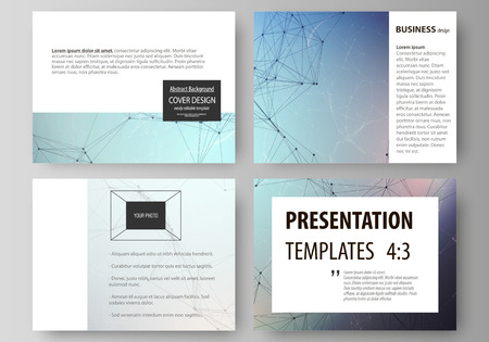 Set of business templates for presentation slides. Easy editable abstract vector layouts in flat design. Compounds lines and dots. Big data visualization in minimal style. Graphic communication background.