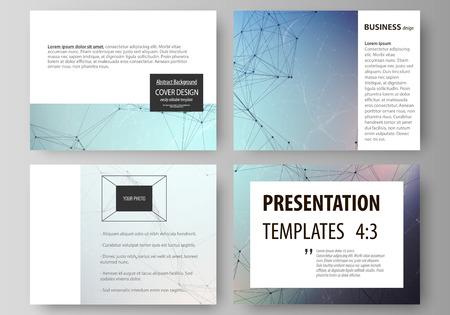 Set zakelijke sjablonen voor presentatiedia's. Gemakkelijk bewerkbare abstracte vectorlay-outs in plat ontwerp. Compounds lijnen en punten. Big data visualisatie in minimalistische stijl. Grafische communicatie achtergrond.