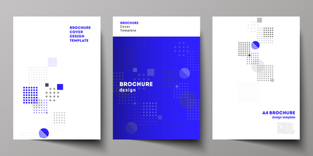 The vector layout of A4 format modern cover mockups design templates for brochure, magazine, flyer, booklet, annual report. Abstract vector background with fluid geometric shapes Illustration