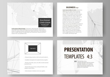 The minimalistic abstract vector illustration of the editable layout of the presentation slides design business templates. Global network connections, technology background with world map Illustration