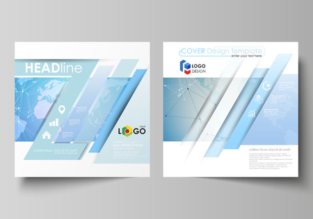 The minimalistic vector illustration of the editable layout of two square format covers design templates for brochure, flyer, magazine. World map on blue, geometric technology design, polygonal texture.
